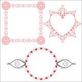 3 Heart Borders Stock Image