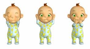 3 het wijze Beeldverhaal van de Baby Stock Afbeelding