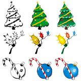 3 holiday woodcuts. 3 stylized holiday icons in 3 different color treatments Stock Image