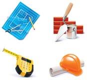 3 homebuilding symbolsdel som renoverar den set vektorn Royaltyfri Bild