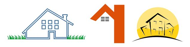 3 House logos. 3 different concepts on house logos: vector Illustration Royalty Free Stock Photos