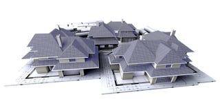 3 huizen op blauwdrukken Stock Afbeelding