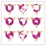 3 ikony globalnej postawił wersja Ilustracja Wektor