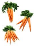 3 imágenes de zanahorias frescas Fotos de archivo libres de regalías