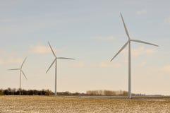 3 Indiana Wind Turbines Turning Stock Photo