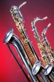 3 inställda saxofoner Royaltyfria Bilder
