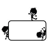 3 jongens die uit een frame te voorschijn komen Stock Afbeeldingen