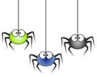 3 Karikatur-Spinnen-Hängen Lizenzfreies Stockbild