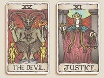 3 kart tarot dwa v Zdjęcia Royalty Free