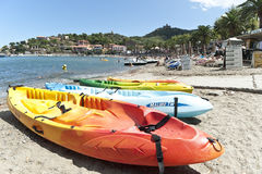 Kayaks beach Collioure Southern France Royalty Free Stock Photos