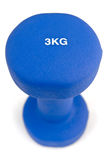 3 kg rubber dipped blue dumbbell Royalty Free Stock Photos
