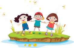 3 kids on an island Royalty Free Stock Images