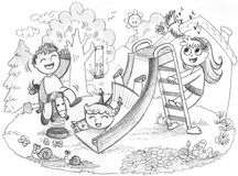 3 kids playing in the countryside. Playground in the country: three happy children playing together. Grey pencil hand drawn illustration Stock Photo