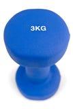 3 kilogramos de caucho sumergieron pesa de gimnasia azul Fotos de archivo libres de regalías