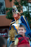 The 3 Kings. CANARY ISLANDS - JANUAR 5: The 3 Kings Melchior, Caspar and Balthasar receiving children's gift requests during the cavalcade,Cabalgata de Reyes, in Stock Image