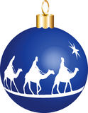 3 Kings Christmas Ornament. Three wise men on camels going to see baby Jesus displayed on a christmas ornament. Vector Illustration royalty free illustration