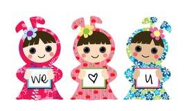 3 kleine Mädchen mit Liebe Lizenzfreies Stockfoto