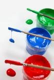 3 kleuren met Borstels Stock Afbeelding