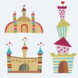 3 kleurrijke beeldverhaalkastelen Royalty-vrije Stock Afbeeldingen