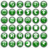 3 knappar green rund rengöringsduk Royaltyfri Bild