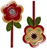 3 konstnärliga D-blommor Royaltyfria Bilder