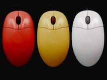 3 kulöra mouses Fotografering för Bildbyråer