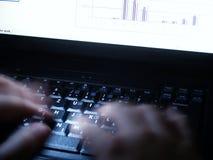 3 laptopów pracy w porze nocnej Zdjęcie Stock