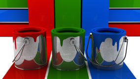 3 latas da pintura Foto de Stock Royalty Free