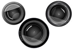 3 lens camera lens Stock Photo