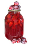 3-liter jar with house plam compote and plums. Isolated on a white background Stock Photography