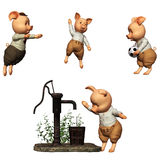 3 little Pigs. 3d render of 3 little Pigs Stock Images