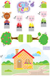 3 Little Pigs Cut & Play. Funny Paper Toy Ready to Print Royalty Free Stock Photo