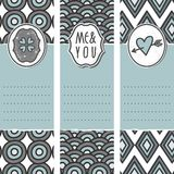 3 long valentines day cards circle wave diamond. Set of three long valentines day love romantic cards in gray white and blue with heart clover me and you sign Stock Photos
