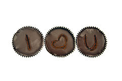 3 love chocolate cakes row Royalty Free Stock Photo