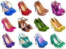 3 mångfärgade skor för kvinnlig Arkivfoton