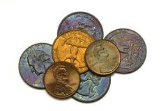 3 mała sterta monety fotografia stock