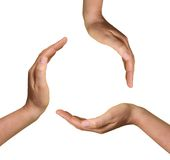 3 mains ouvertes Photo stock