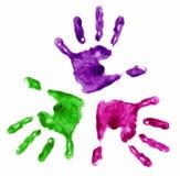 3 mains peintes par doigt Photographie stock