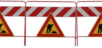 3 man at work Road signs on white. 3 man at work signs on white background, you can easly create banner how long do you need stock image