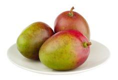3 Mangofrüchte auf der weißen Platte, getrennt lizenzfreie stockfotos