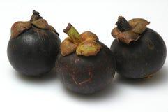 3 Mangostanfrüchte Stockfotografie