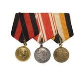 3 medalhas do império Czarist do russo Fotografia de Stock