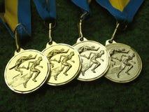 3 medaljer Fotografering för Bildbyråer