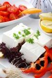3 mediteranian餐馆沙拉表白色 免版税库存照片