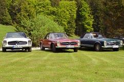 3 Mercedes Benz 280 SL cabrio. Three vintage Mercedes Benz 280 SL during meeting stock images