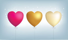 3 metallic heart balloons. Vector file, fully editable and scaleable, maximum high resolution jpegs available too Royalty Free Stock Images