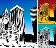 3 milieux de ville en revanche Image stock