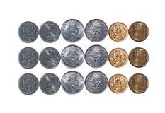 3 monety kopiują hindus odizolowywającego rzędów przestrzeni biel Fotografia Royalty Free