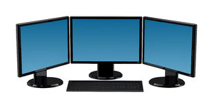 3 Monitors Computer Isolated. 3d render hires royalty free illustration