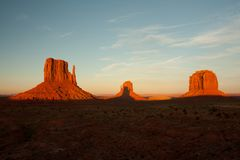 3 Monument valley mountain sunset Royalty Free Stock Images